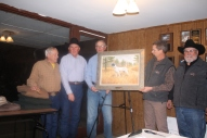 Roty Pelton, Chuck Stretz, Dr. Richard Steckley, artist Ross Young, Larry Garner