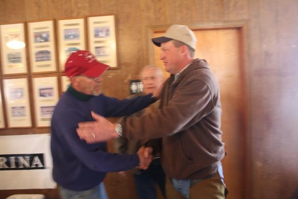 Jeff Ruth congratulates Stacy Perkins