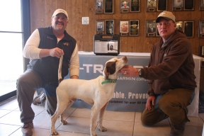 Thank you Tri-Tronics! Owner Rex Garner and handler Stacy Perkins with Not'ta Snow Ball's Chance