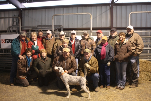 C S Pressure with handler Doug Ray and scout Stacy Perkins and many well-wishers